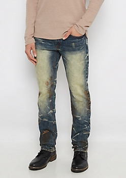 Washed Paint Splatter Slim Jean