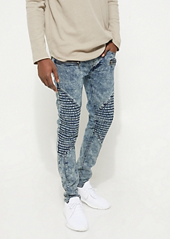 Light Wash Moto Stretch Skinny Jeans