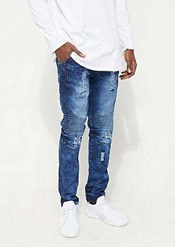 Dark Wash Bleached Distressed Moto Skinny Jeans