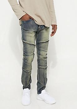 Vintage Wash Moto Straight Leg Jeans