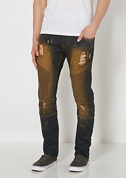 Destroyed Dirty Washed Moto Jean