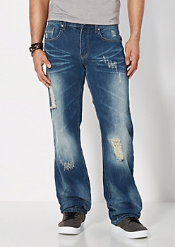 Vintage Wash Destroyed Boot Jean