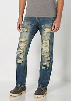Destroyed & Patched Relaxed Straight Jean