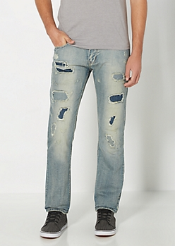 Denim Patched Slim Straight Jean
