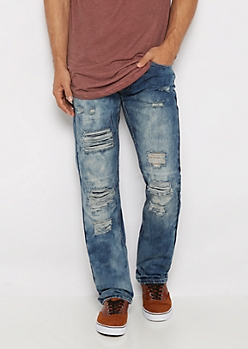 Washed Ripped & Stitched Slim Jean