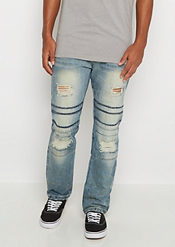 Ripped & Stitched Knee Slim Jean
