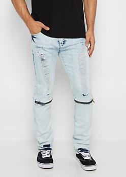 Freedom Flex Bleached Zip Detail Skinny Jean