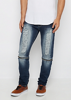 Freedom Flex Sandblasted Zip Detail Skinny Jean