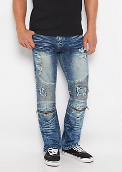 Freedom Flex Destroyed Moto Slim Jean