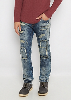 Flex Frayed Patch Acid Wash Slim Jean