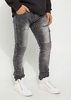 Flex Black Washed Cargo Moto Skinny Jean