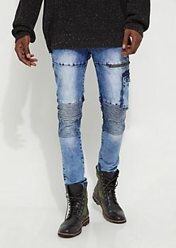 Flex White Cargo Moto Skinny Jean