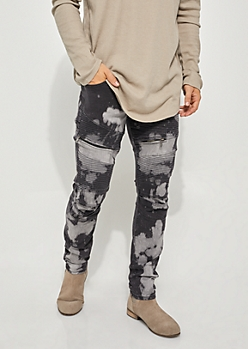 Flex Bleached Black Moto Zipper Skinny Jeans