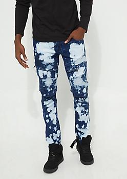 Flex Bleached Blue Moto Zipper Skinny Jeans