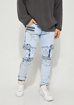 Vintage Flex Skinny Fit Distressed Cargo Moto Jeans