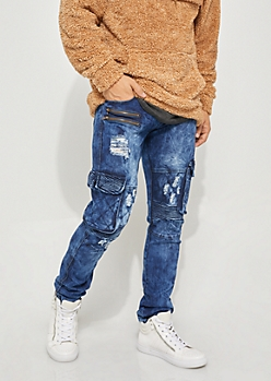 Flex Dark Wash Destroyed Cargo Moto Skinny Jeans