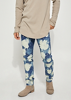 Blue Wash Paint Stain Flex Skinny Fit Moto Jeans