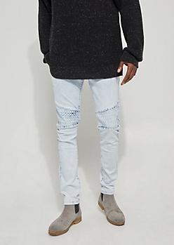 Light Wash Paint Stain Flex Skinny Fit Moto Jeans