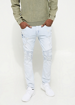 Flex Bleached Light Distressed Moto Skinny Jeans