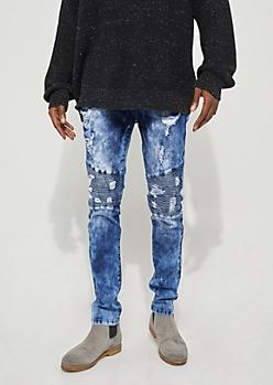 Flex Dark Wash Bleached Moto Skinny Jeans