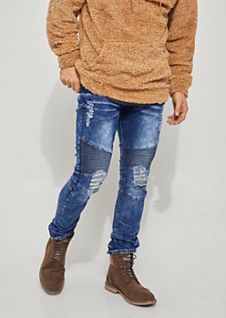 Flex Dark Wash Moto Ripped Skinny Jeans