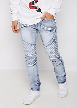Flex Zip Pocket Distressed Moto Skinny Jean