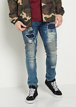 Flex Patched & Frayed Moto Skinny Jean