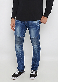 Flex Sandblasted Moto Skinny Jean