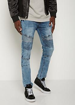 Light Blue Pyramid Moto Skinny Jean