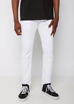 White Pyramid Moto Skinny Jean