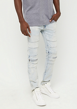 Acid Wash Zipped Moto Skinny Jean