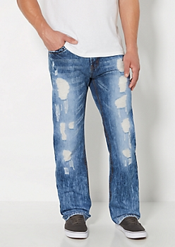 Washed & Destroyed Relaxed Straight Jean