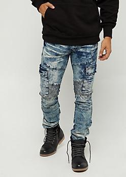 Acid Wash Cargo Moto Skinny Jeans