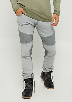 Gray Moto Stitched Skinny Jean