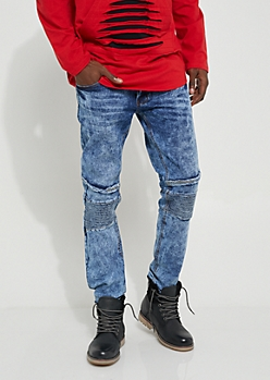 Distressed Slim Fit Medium Wash Moto Skinny Jeans