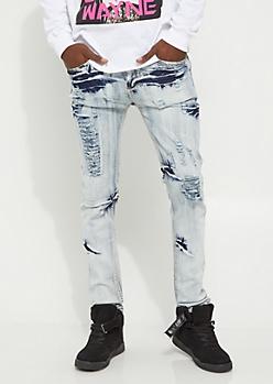 Acid Wash Destroyed Skinny Jean