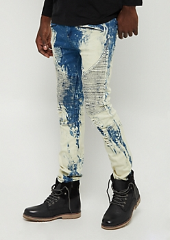 Heavy Wash Ripped & Repaired Moto Skinny Jean