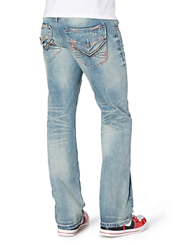 Distressed Trapunto Embroidered Boot Jean