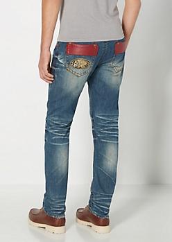 Faux Leather Pocket Baked Slim Jean