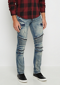 Flex Destroyed Moto Skinny Jean