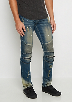 Flex Medium Splattered Vintage Moto Skinny Jean