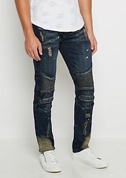 Flex Dark Splattered Vintage Moto Skinny Jean