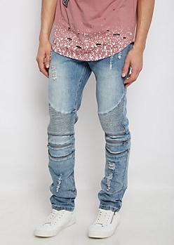 Flex Distressed Moto Skinny Jean