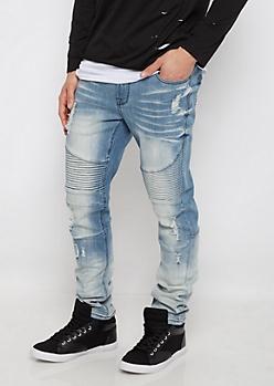 Flex Distressed Moto Knee Slim Jean