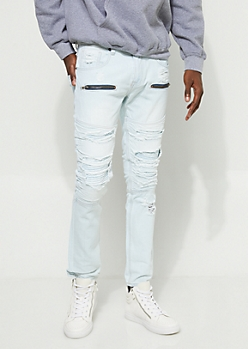 Flex Light Wash Skinny Fit Distressed Jeans