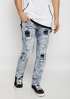 Flex Acid Wash Destroyed Skinny Jean