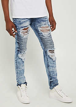 Flex Blown Out Destroyed Moto Skinny Jeans