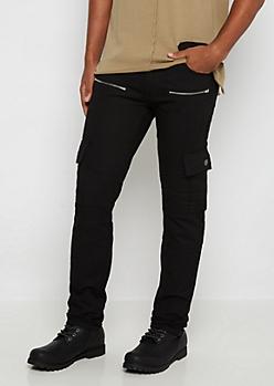 Black Moto Cargo Slim Jean