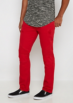 Red Destroyed Moto Slim Jean