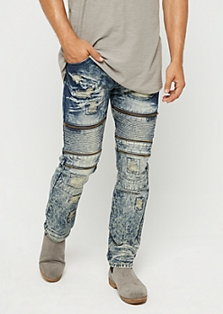 Destroyed Zipped Moto Slim Jean